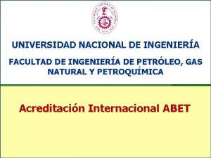 UNIVERSIDAD NACIONAL DE INGENIERA FACULTAD DE INGENIERA DE