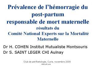 Prvalence de lhmorragie du postpartum responsable de mort