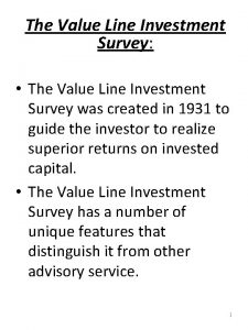 The Value Line Investment Survey The Value Line
