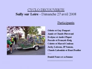 CYCLO DECOUVERTE Sully sur Loire Dimanche 27 avril