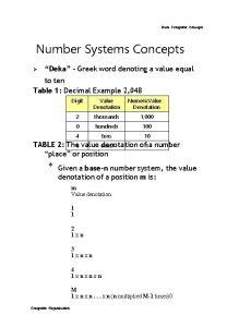 Basic Computer Concepts Number Systems Concepts Deka Greek