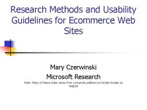 Research Methods and Usability Guidelines for Ecommerce Web