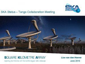 SKA Status Tango Collaboration Meeting Lize van den