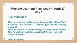 Remote Learning Plan Week 4 April 27 May