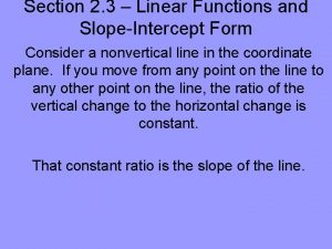 Section 2 3 Linear Functions and SlopeIntercept Form