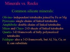 Minerals vs Rocks Common silicate minerals Olivine independent