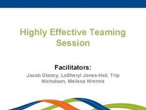 Highly Effective Teaming Session Facilitators Jacob Glancy La