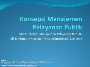 Konsepsi Manajemen Pelayanan Publik Materi Kuliah Manajemen Pelayanan