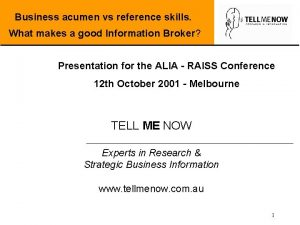 Business acumen vs reference skills What makes a