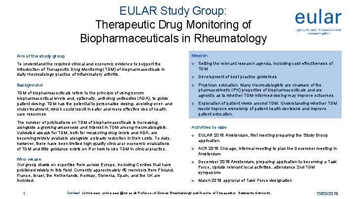 EULAR Study Group Therapeutic Drug Monitoring of Biopharmaceuticals