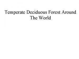 Temperate Deciduous Forest Around The World Deciduous forest
