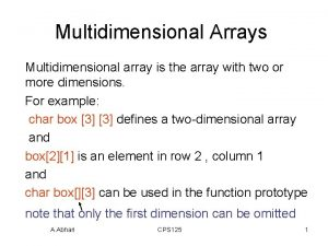 Multidimensional Arrays Multidimensional array is the array with