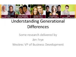 Understanding Generational Differences Some research delivered by Jim