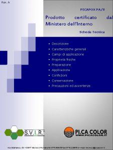 Rev A PICAPOX PAS Prodotto certificato Ministero dellInterno