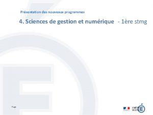 Prsentation des nouveaux programmes 4 Sciences de gestion