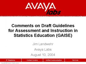 Comments on Draft Guidelines for Assessment and Instruction
