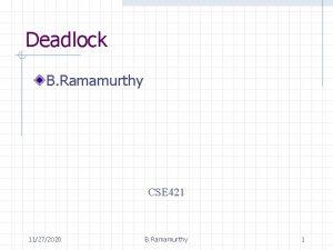 Deadlock B Ramamurthy CSE 421 11272020 B Ramamurthy