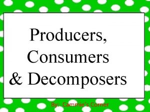 Producers Consumers Decomposers By Cammies Corner Producers Consumers