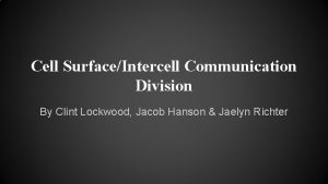 Cell SurfaceIntercell Communication Division By Clint Lockwood Jacob