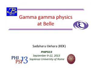 Gamma gamma physics at Belle Sadaharu Uehara KEK