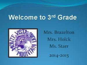 Welcome to rd 3 Grade Mrs Brazelton Mrs