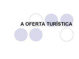 A OFERTA TURSTICA A OFERTA TURSTICA e deslocao