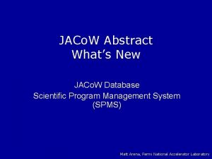 JACo W Abstract Whats New JACo W Database