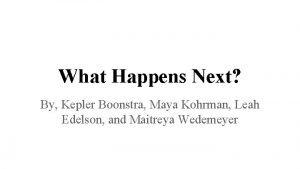 What Happens Next By Kepler Boonstra Maya Kohrman