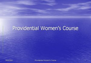 Providential Womens Course 2662002 Providential Womens Course 1
