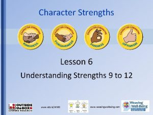 Character Strengths Lesson 6 Understanding Strengths 9 to