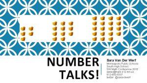NUMBER TALKS Sara Van Der Werf Minneapolis Public