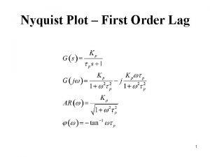 Nyquist Plot First Order Lag 1 Nyquist Plot