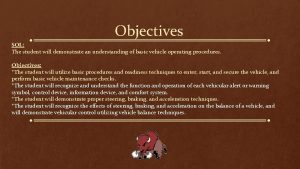 Objectives SOL The student will demonstrate an understanding