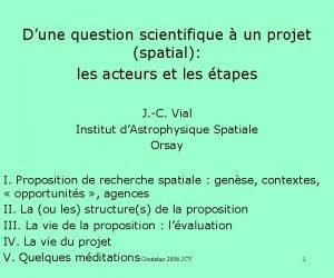 Dune question scientifique un projet spatial les acteurs