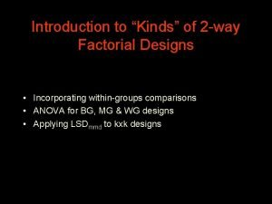 Introduction to Kinds of 2 way Factorial Designs