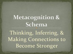 Metacognition Schema Thinking Inferring Making Connections to Become