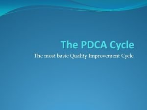 The PDCA Cycle The most basic Quality Improvement