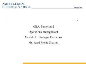 Bangalore 1 MBA Semester 2 Operations Management Module