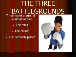 THE THREE BATTLEGROUNDS Three major arenas of spiritual