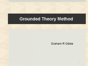 Grounded Theory Method Graham R Gibbs 1 Grounded