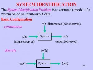 SYSTEM IDENTIFICATION The System Identification Problem is to