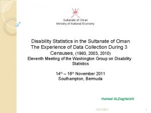 Sultanate of Oman Ministry of National Economy Disability