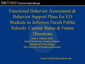 Functional Behavior Assessment Behavior Support Plans for ED