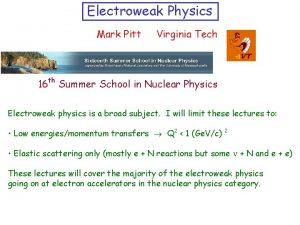 Electroweak Physics Mark Pitt Virginia Tech th 16