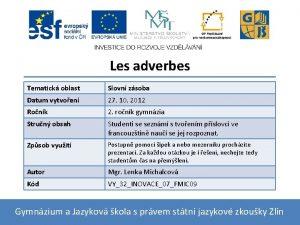 Les adverbes Tematick oblast Slovn zsoba Datum vytvoen