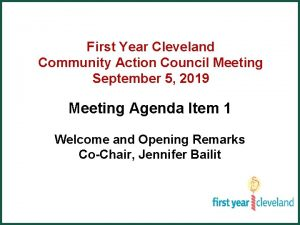 First Year Cleveland Community Action Council Meeting September