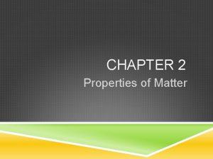 CHAPTER 2 Properties of Matter PROPERTIES OF MATTER