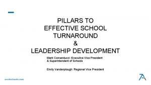 PILLARS TO EFFECTIVE SCHOOL TURNAROUND LEADERSHIP DEVELOPMENT Mark