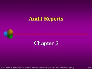 Audit Reports Chapter 3 2005 Prentice Hall Business