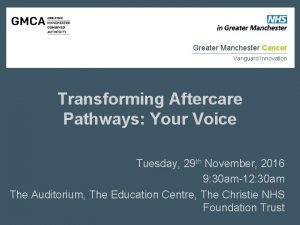Greater Manchester Cancer Vanguard Innovation Transforming Aftercare Pathways